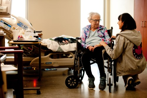 Patient with care worker