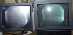 two screens with images